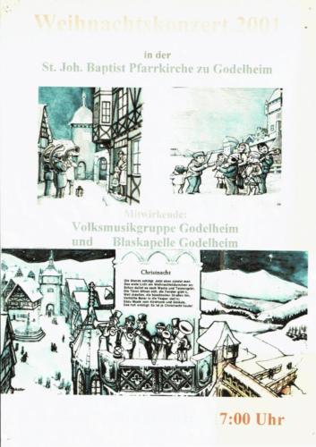 Plakat Weihnachtskonzert 2001